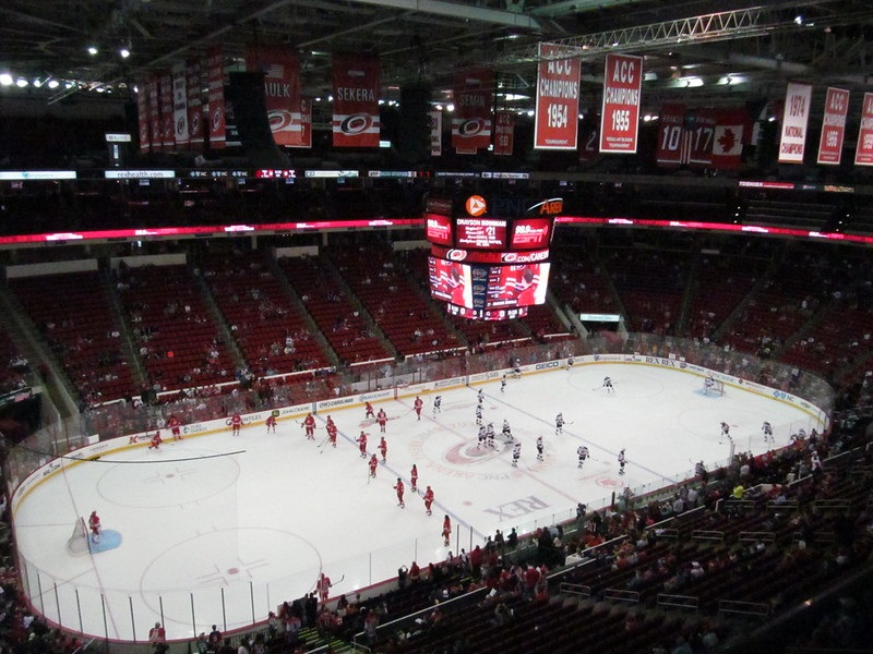 View from the upper level seats at PNC Arena during a Carolina Hurricanes game.