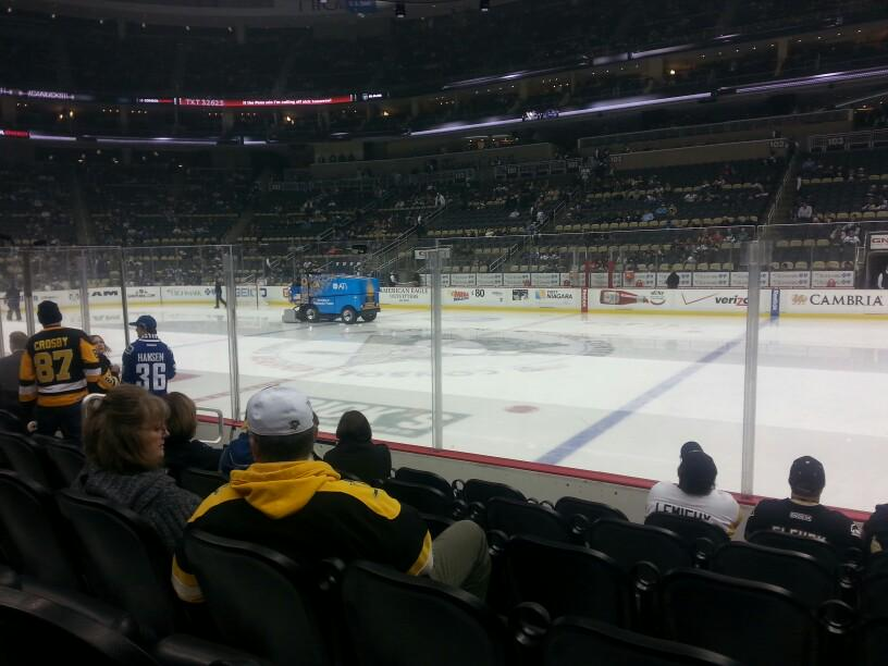 Seat view from section 111 at PPG Paints Arena, home of the Pittsburgh Penguins