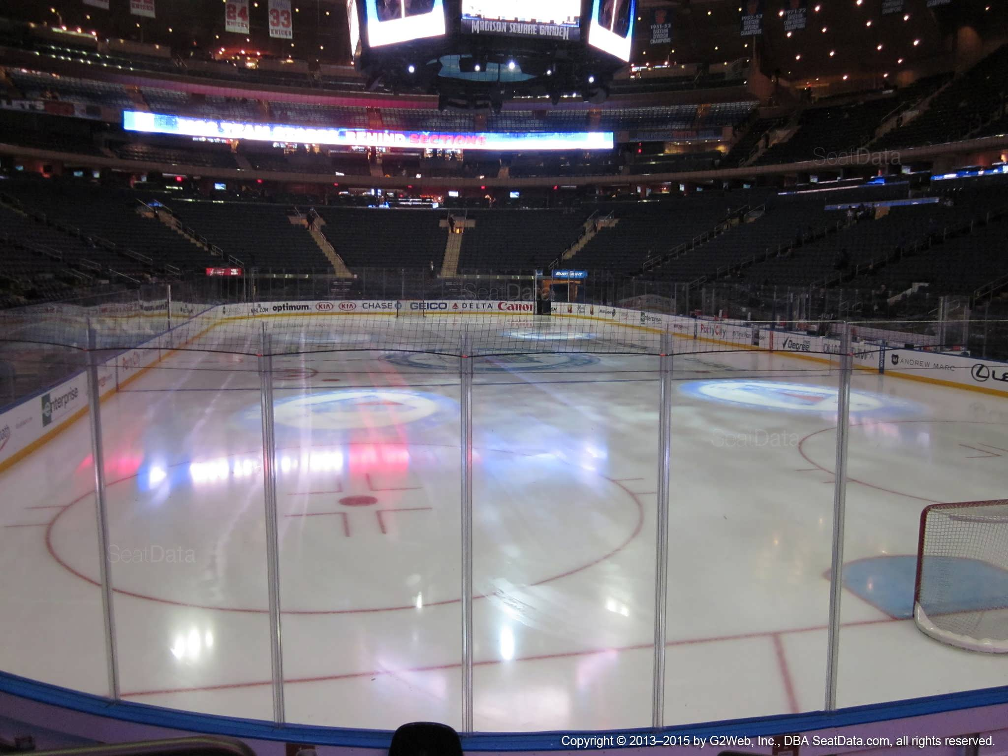 Seat view from section 3 at Madison Square Garden, home of the New York Rangers