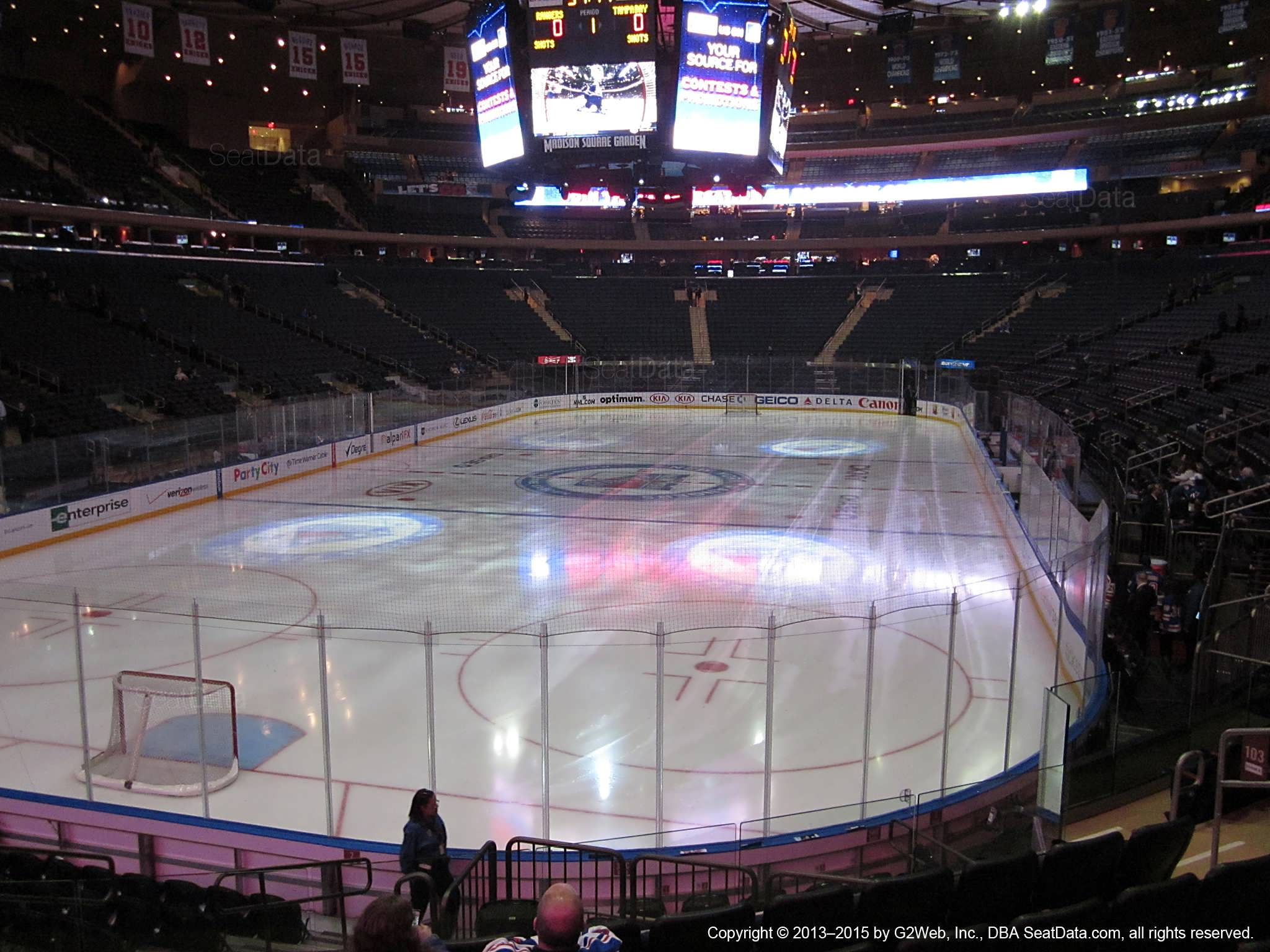 Seat view from section 103 at Madison Square Garden, home of the New York Rangers