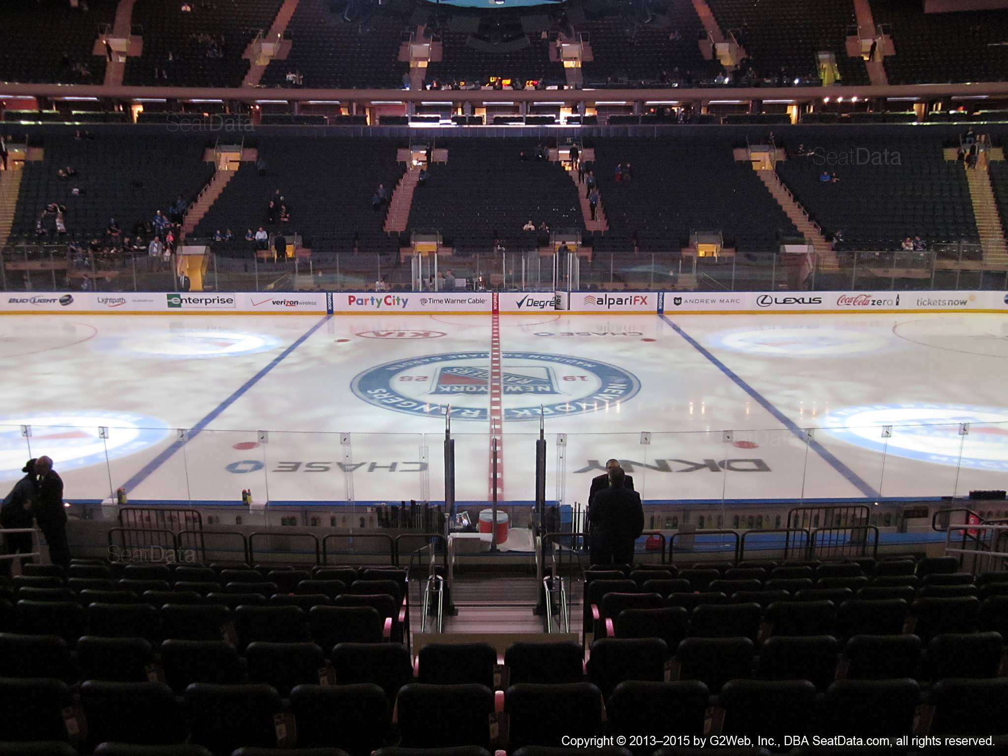 Seat view from section 107 at Madison Square Garden, home of the New York Rangers