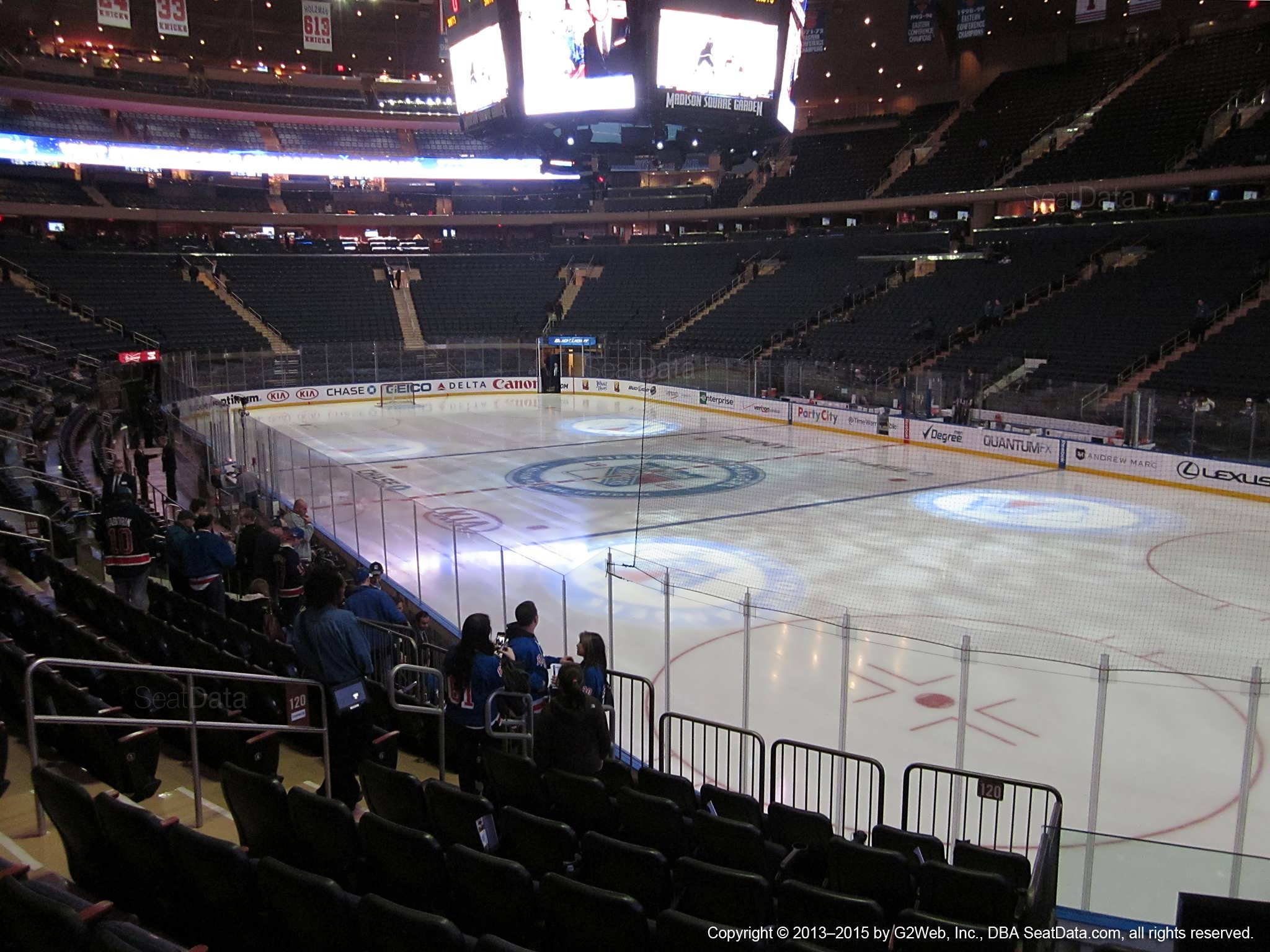 Seat view from section 120 at Madison Square Garden, home of the New York Rangers