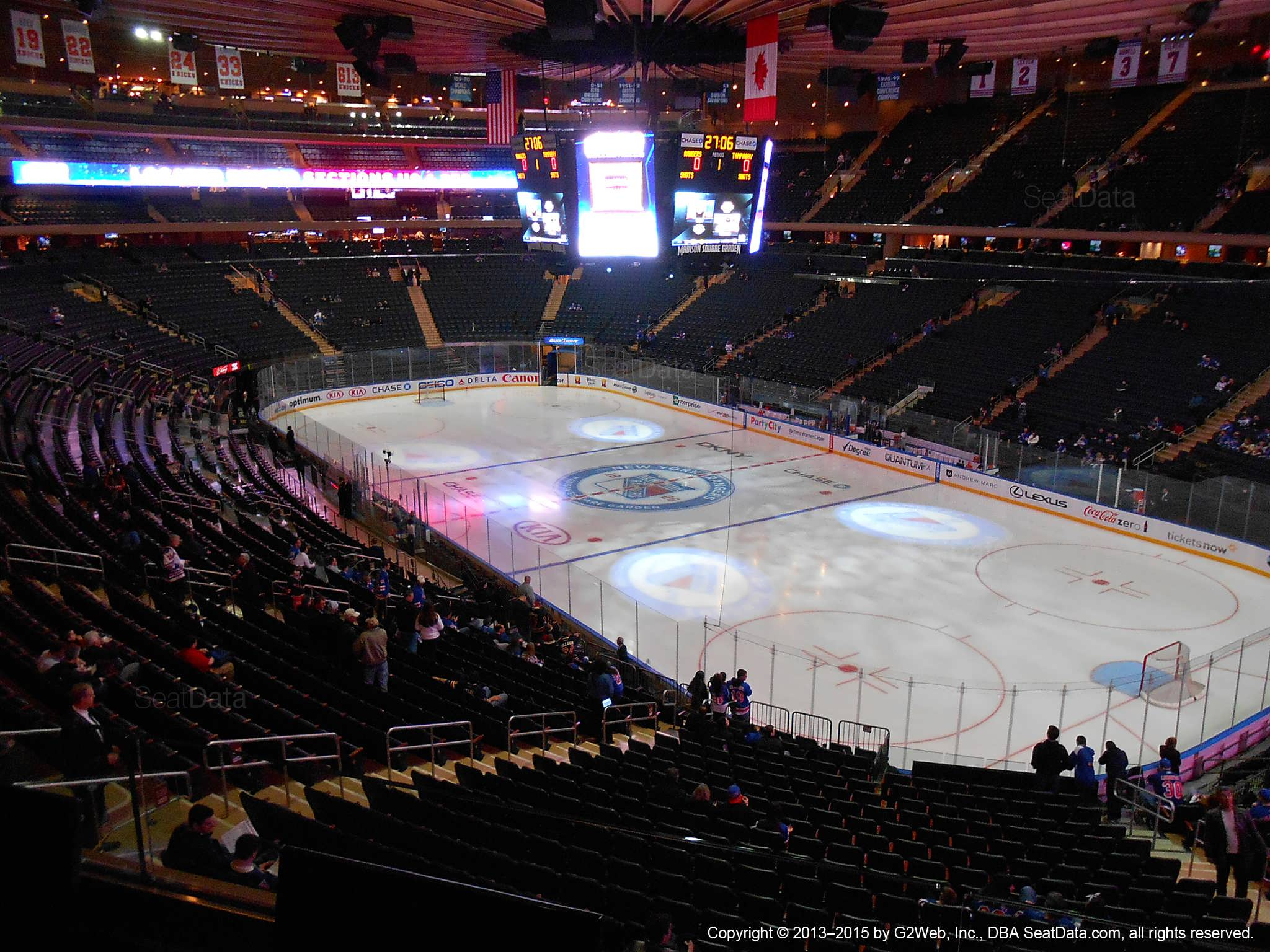 Seat view from section 201 at Madison Square Garden, home of the New York Rangers