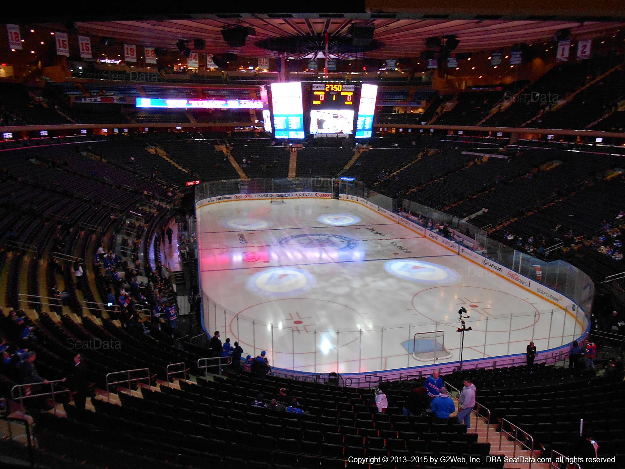 Seat view from section 203 at Madison Square Garden, home of the New York Rangers