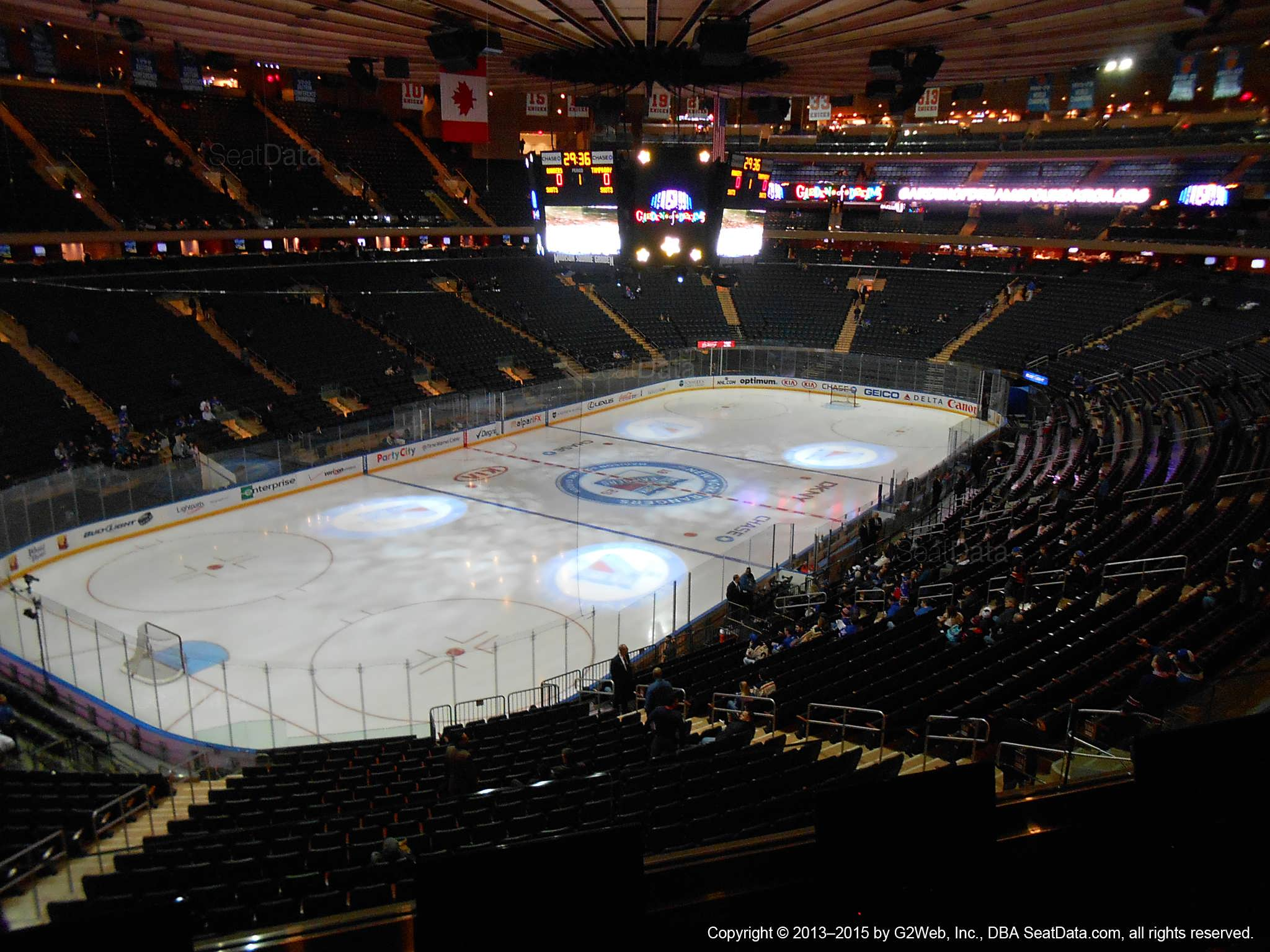 Seat view from section 207 at Madison Square Garden, home of the New York Rangers