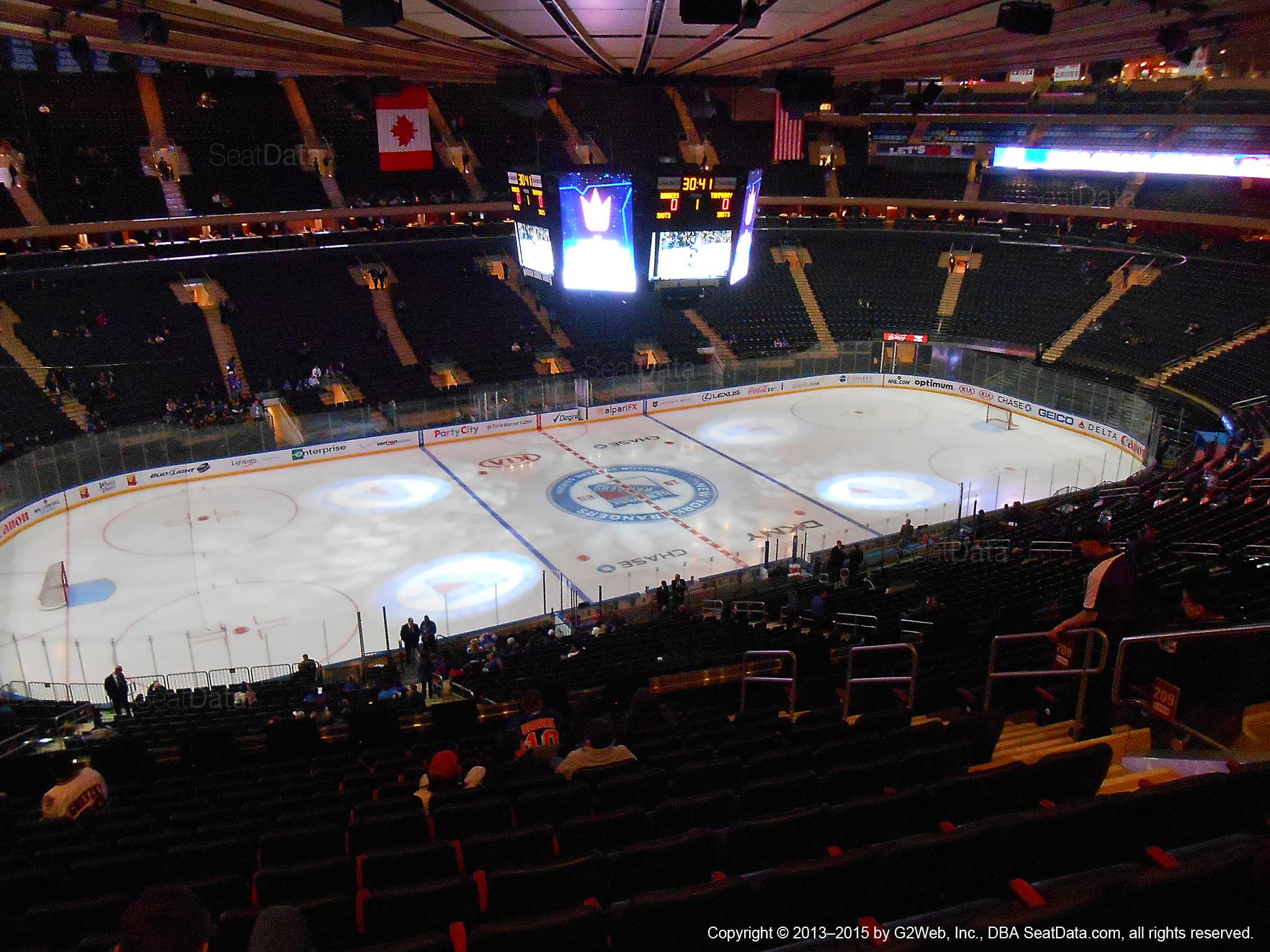 Seat view from section 209 at Madison Square Garden, home of the New York Rangers