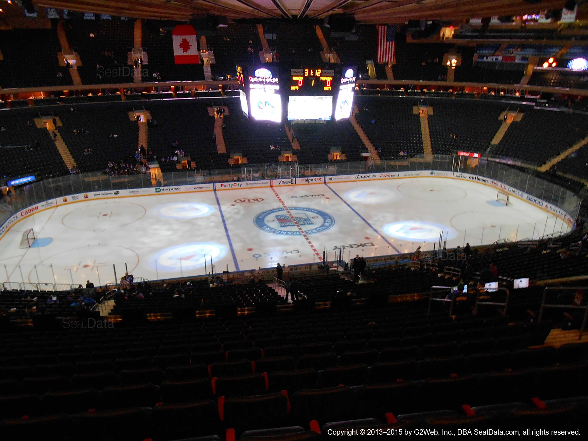 Seat view from section 210 at Madison Square Garden, home of the New York Rangers
