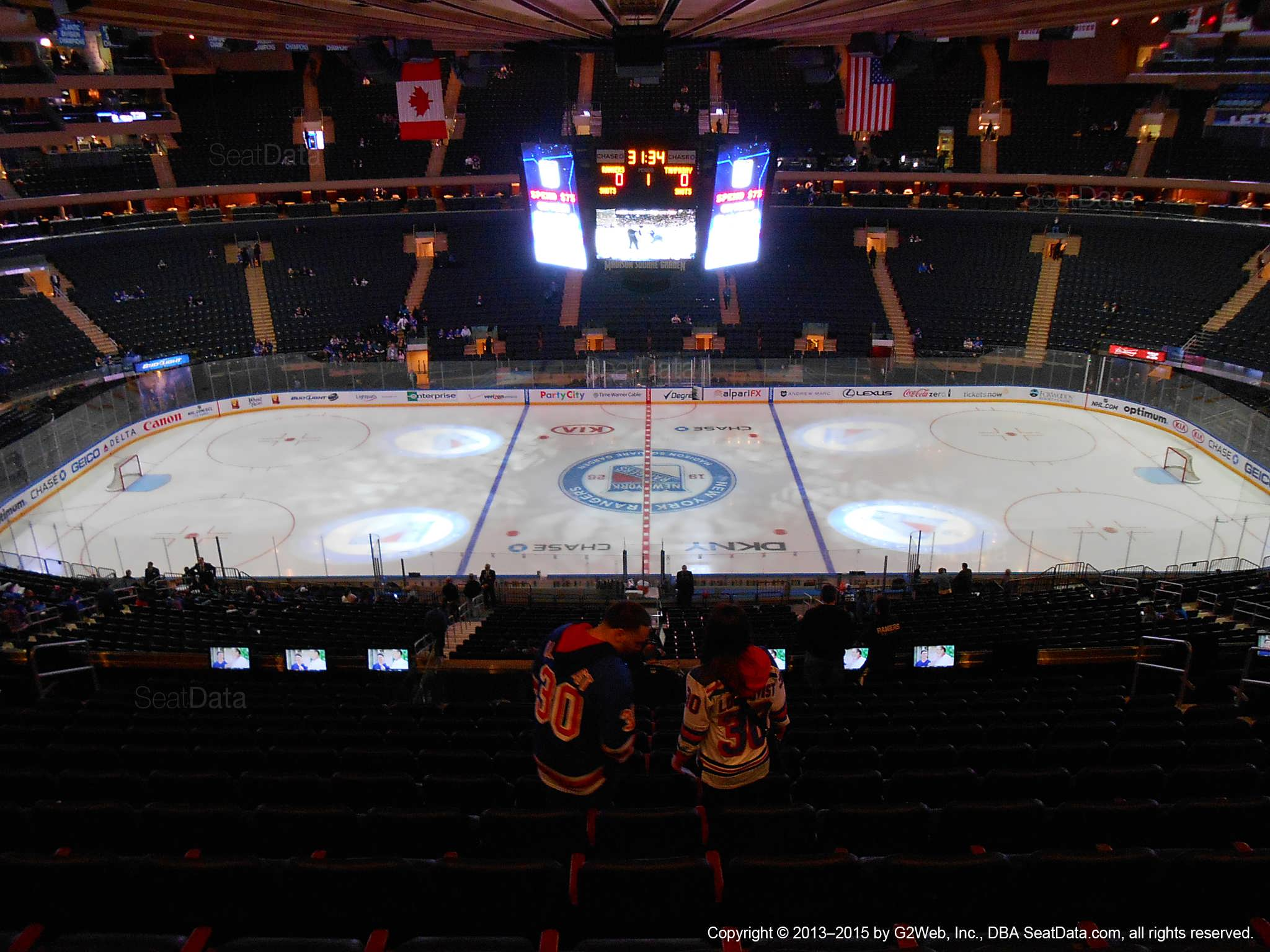 Seat view from section 211 at Madison Square Garden, home of the New York Rangers