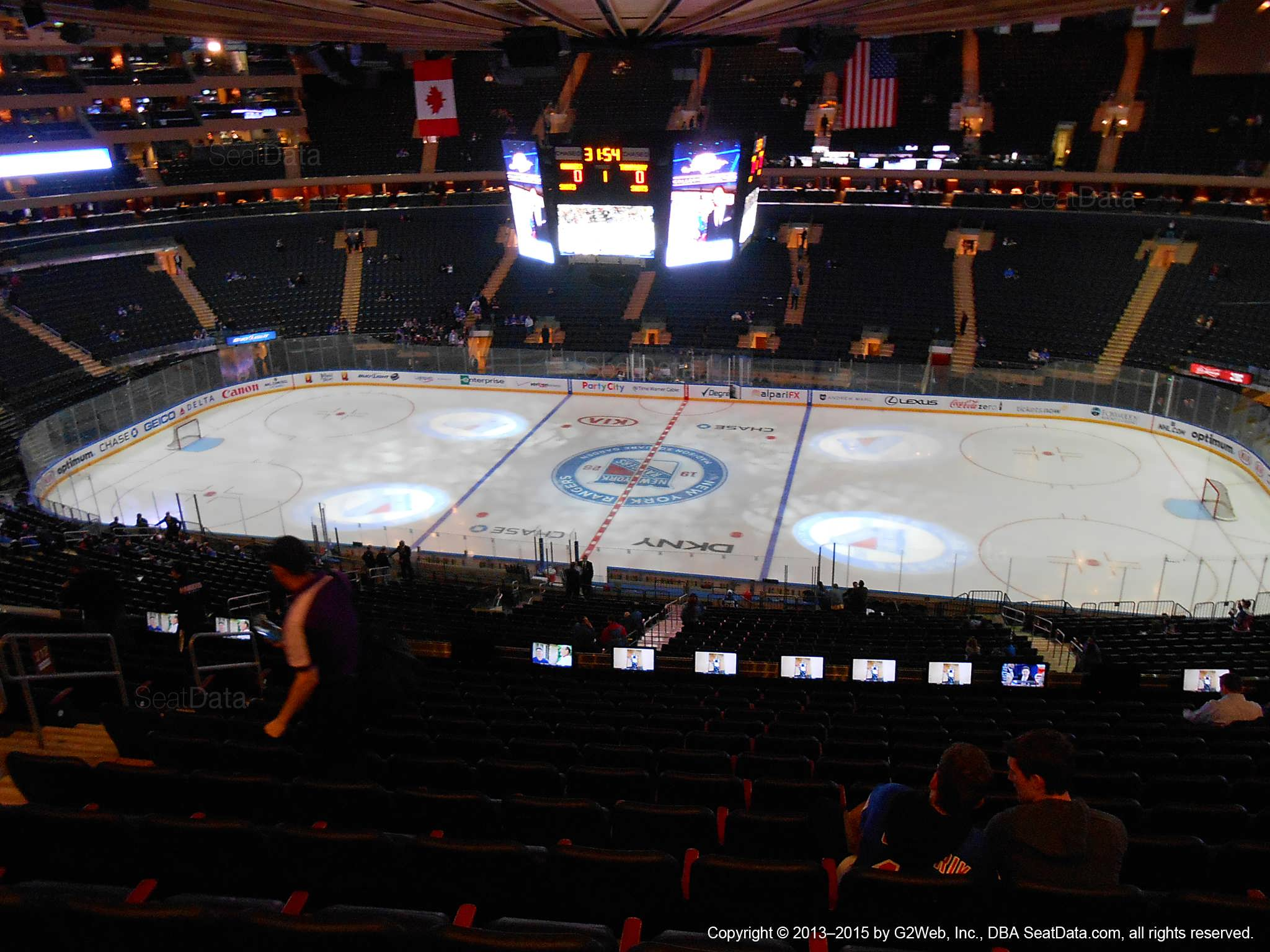 Seat view from section 212 at Madison Square Garden, home of the New York Rangers