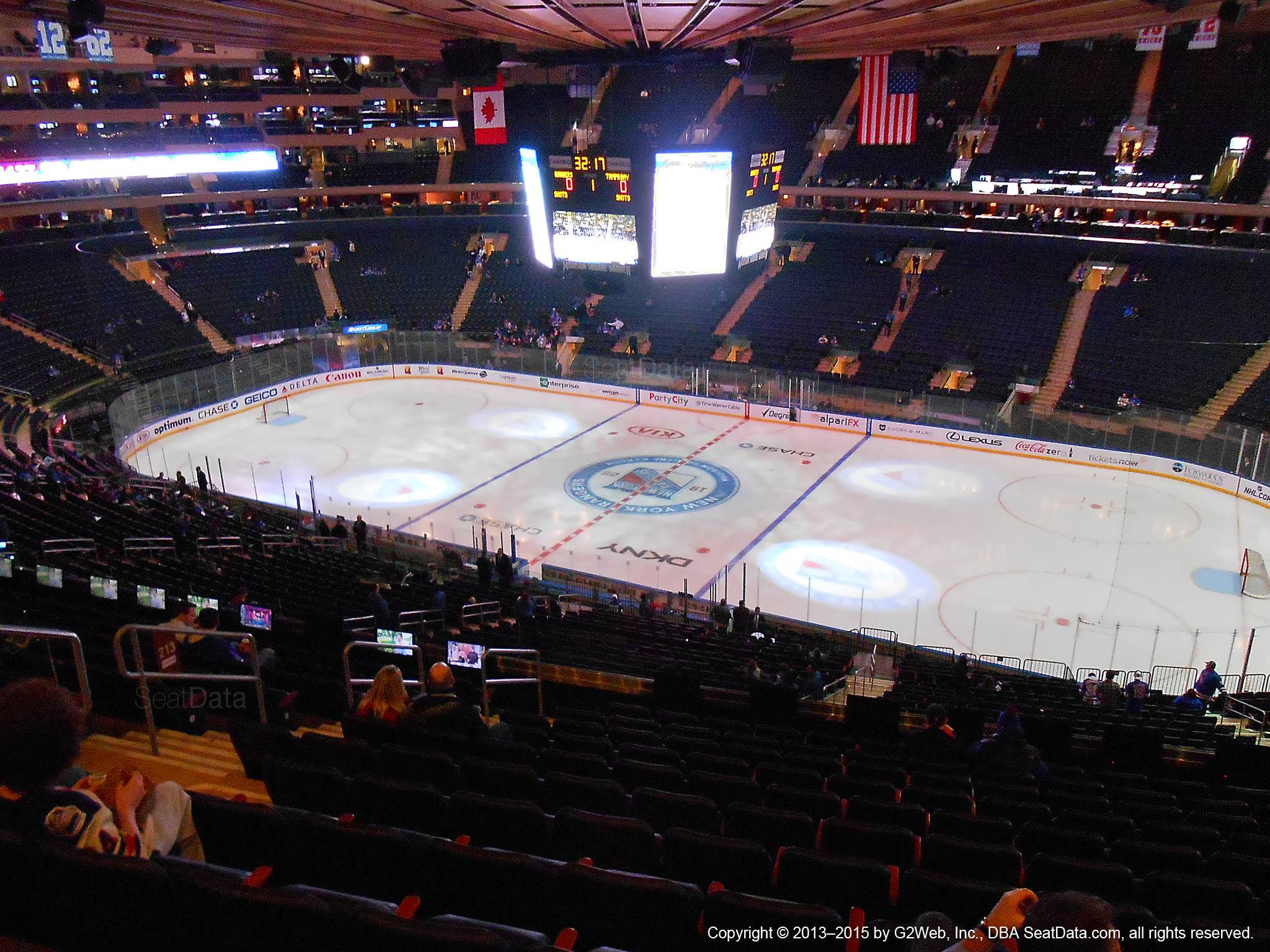 Seat view from section 213 at Madison Square Garden, home of the New York Rangers