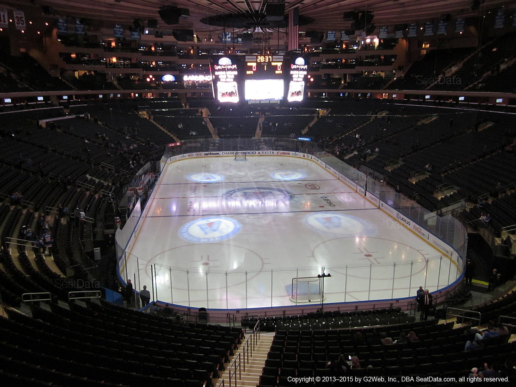 Seat view from section 217 at Madison Square Garden, home of the New York Rangers