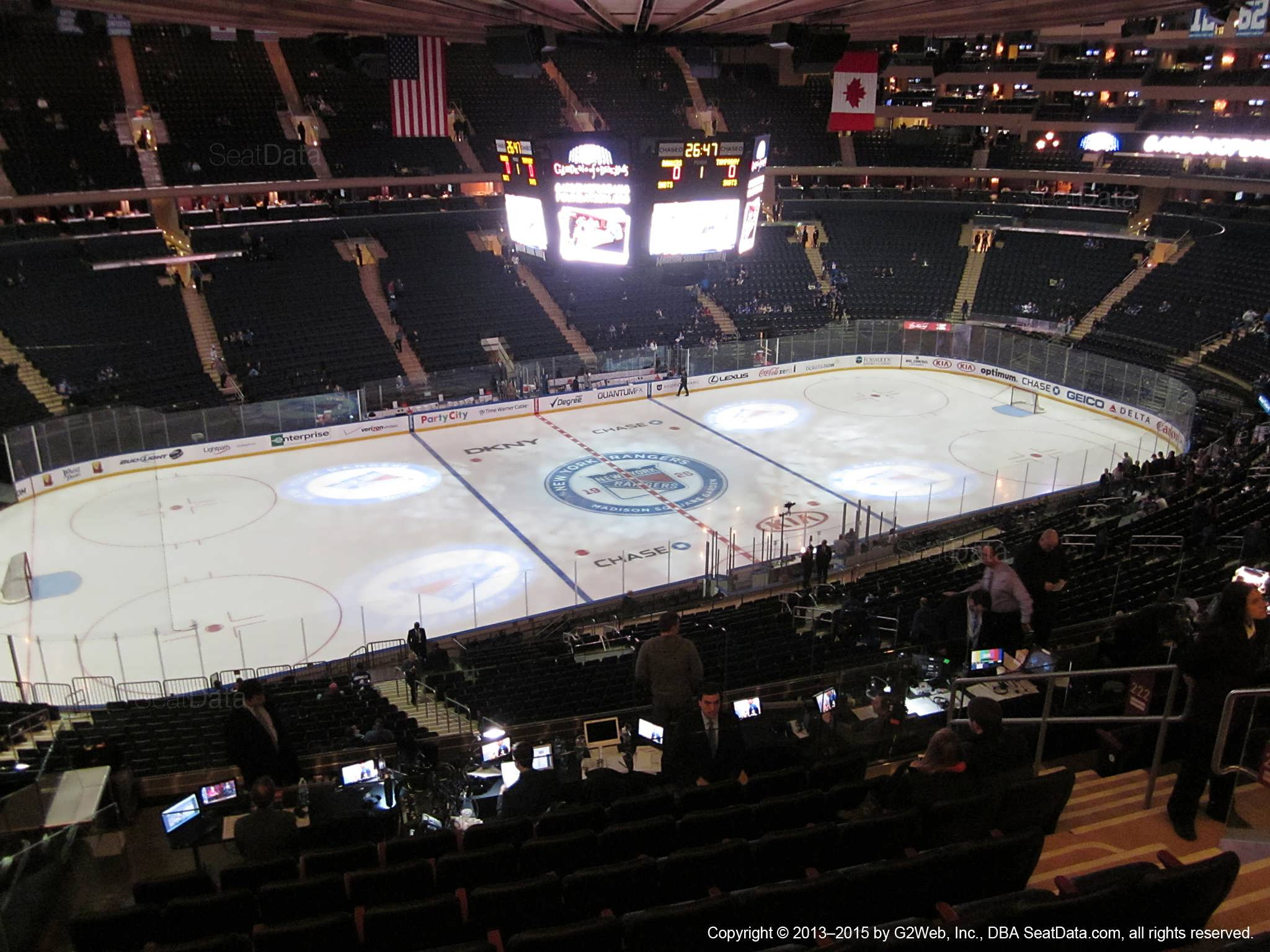 Seat view from section 222 at Madison Square Garden, home of the New York Rangers