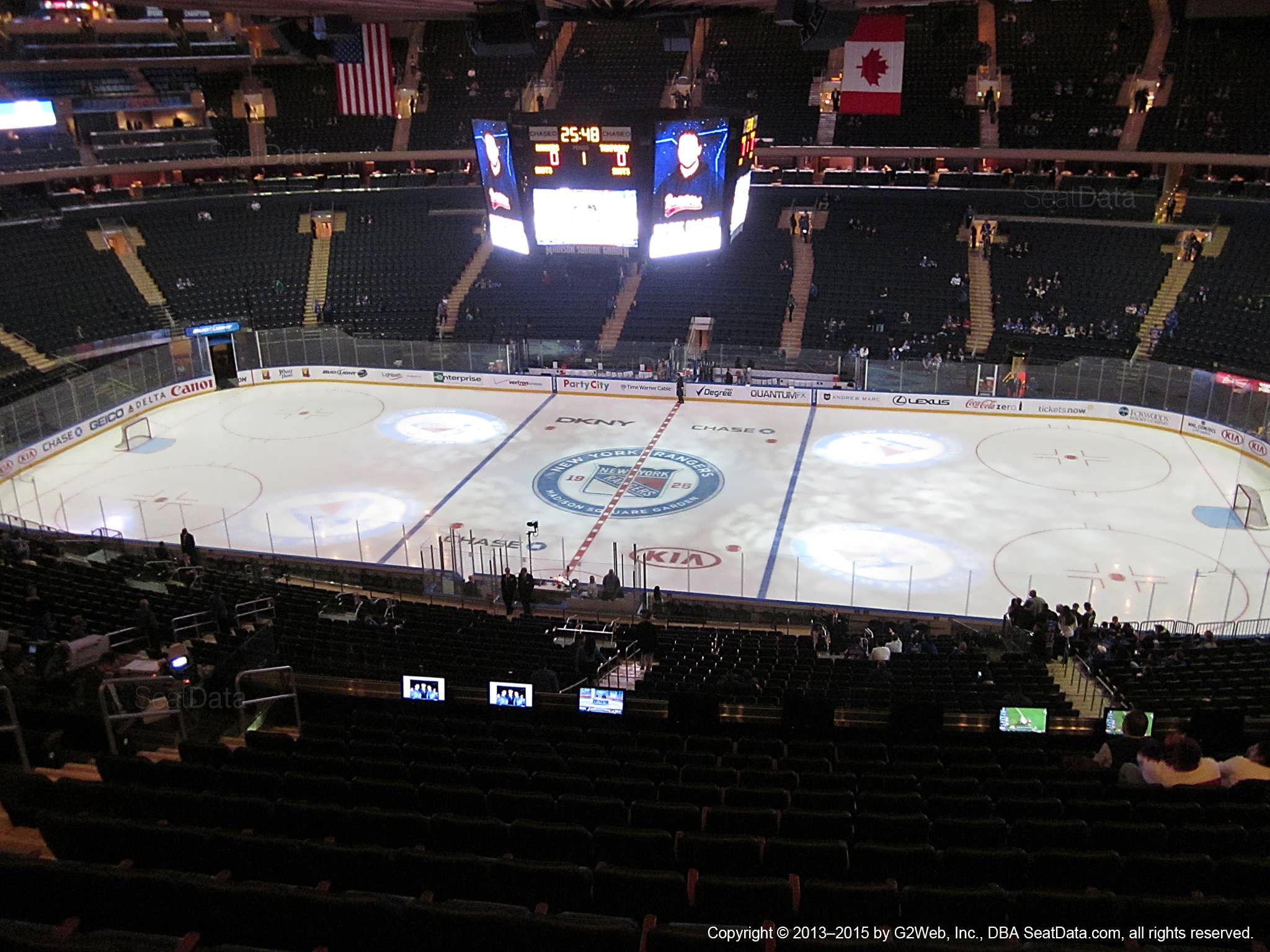 Seat view from section 225 at Madison Square Garden, home of the New York Rangers