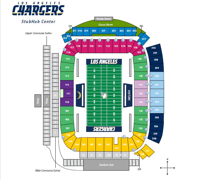 Stubhub Center Seating Chart, Home of the Los Angeles Chargers