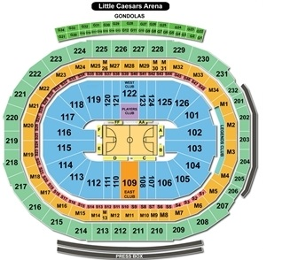 Little Caesars Arena Seating Chart, Detroit Pistons Basketball.
