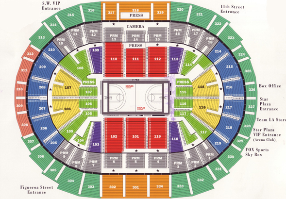 Staples Center Basketball Seating Chart - Los Angeles Lakers, Los Angeles Clippers