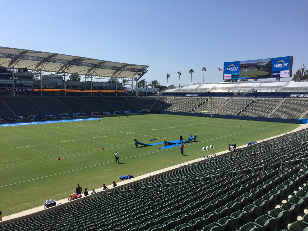 View of the playing field at the Stubhub Center, home of the Los Angeles Chargers