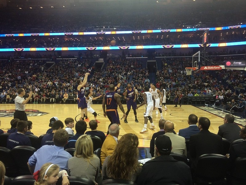 Photo taken from the floor seats at the Smoothie King Center during a New Orleans Pelicans home game.