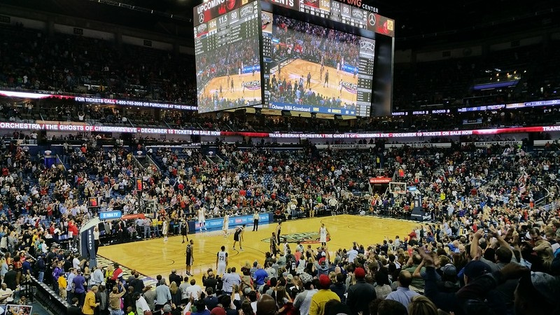 Photo taken from the lower level seats at the Smoothie King Center during a New Orleans Pelicans home game.
