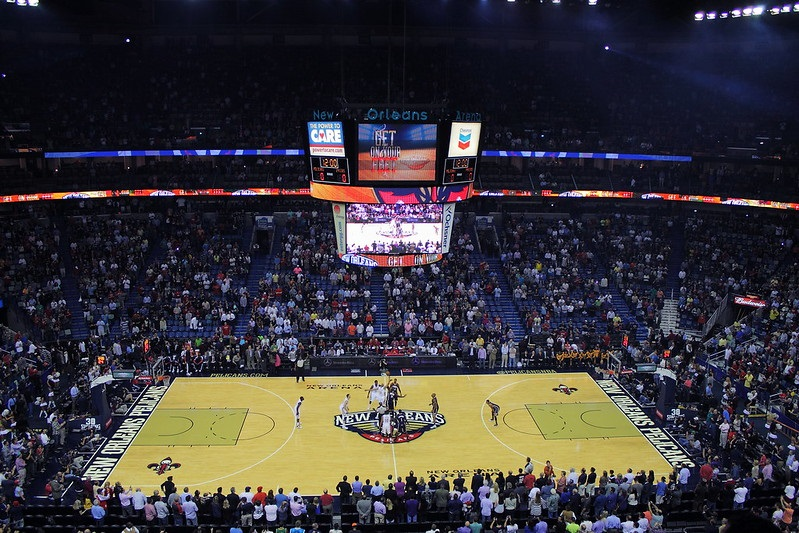 Photo taken from the upper level seats of the Smoothie King Center during a New Orleans Pelicans home game.
