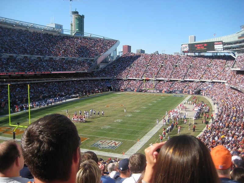 Photo taken from the 200 level seats at Soldier Field during a Chicago Bears home game.