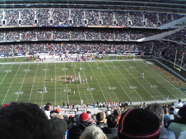 Photo taken from the 300 level seats at Soldier Field during a Chicago Bears home game.