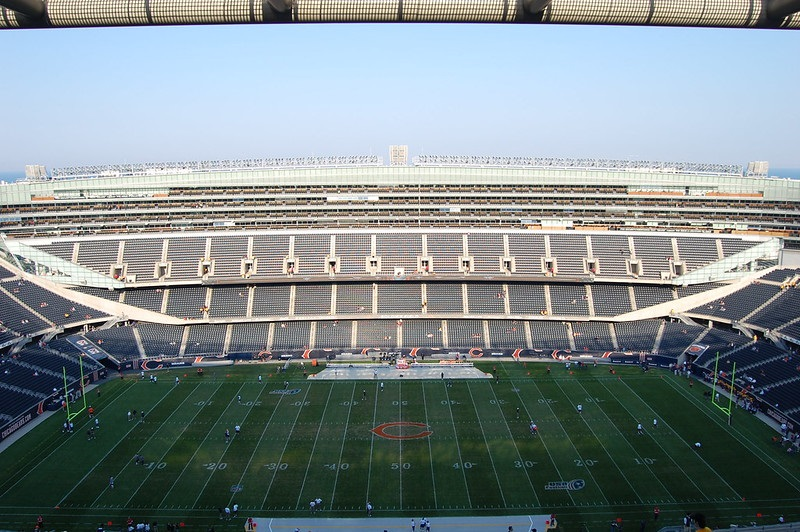 Photo taken from the grandstand level seats at Soldier Field. Home of the Chicago Bears.