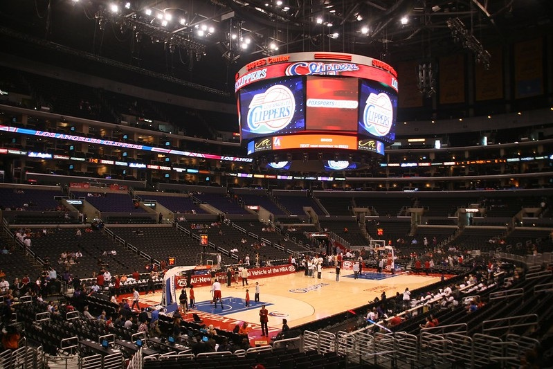 Photo taken from the lower level of the Staples Center during a Los Angeles Clippers home game.