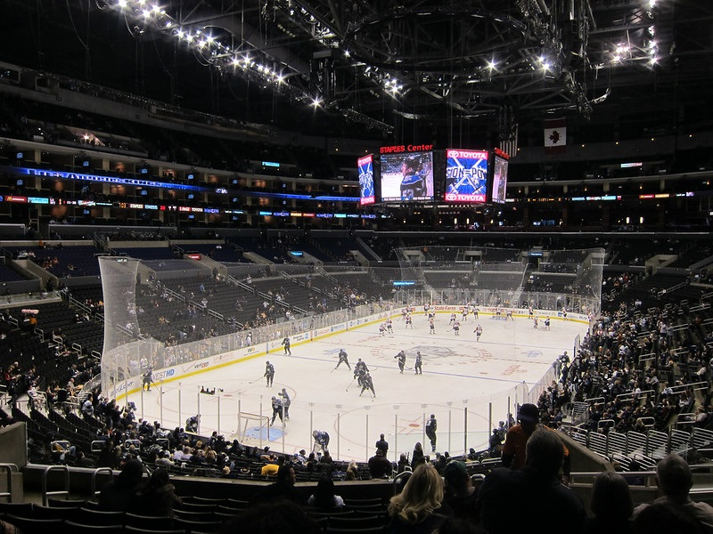 Photo taken from the lower level seats at the Staples Center during a Los Angeles Kings home game.