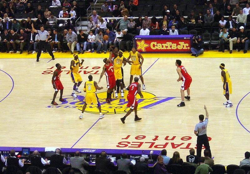 Photo taken from the lower level seats at the Staples Center during a Los Angeles Lakers home game.
