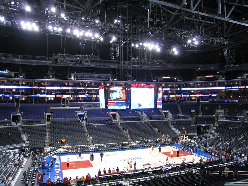 Photo taken from the premier seats at the Staples Center during a Los Angeles Clippers home game.