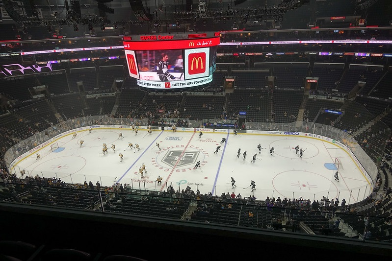 Photo taken from the upper level of the Staples Center during a Los Angeles Kings home game.