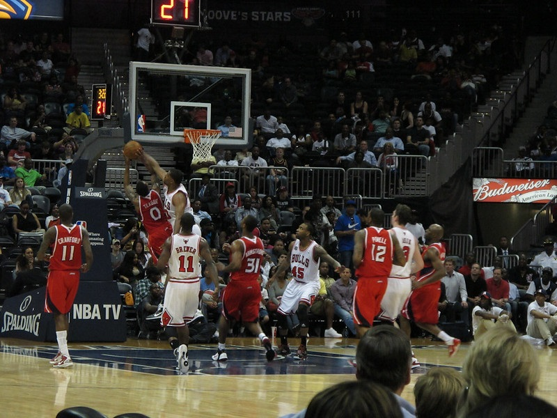 Photo taken from the lower level seats at State Farm Arena during an Atlanta Hawks game.