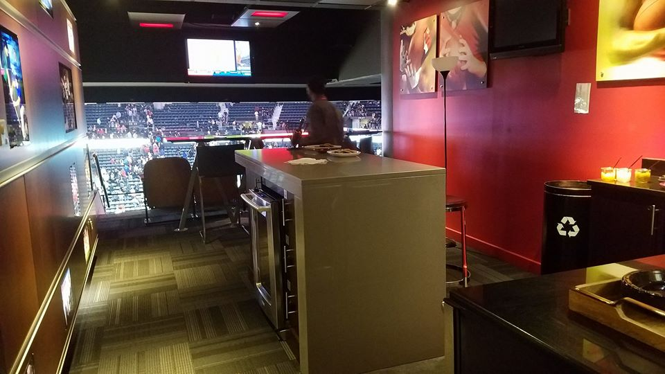 Interior photo of a luxury suite at State Farm Arena in Atlanta, Georgia. Home of the Atlanta Hawks.