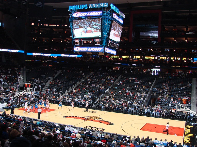Photo taken from the terrace level seats at State Farm Arena during an Atlanta Hawks home game.
