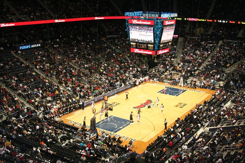 Photo taken from the upper level of State Farm Arena during an Atlanta Hawks home game.