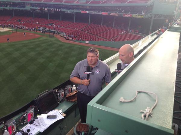 Sunday Night Baseball crew atop the Green Monster.