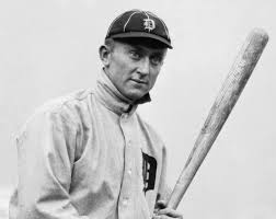 Black and white photo of Ty Cobb of the Detroit Tigers.
