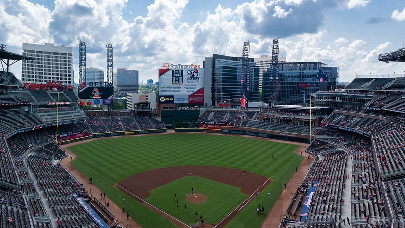 Photo taken from the grandstand level at Truist Park during an Atlanta Braves game.