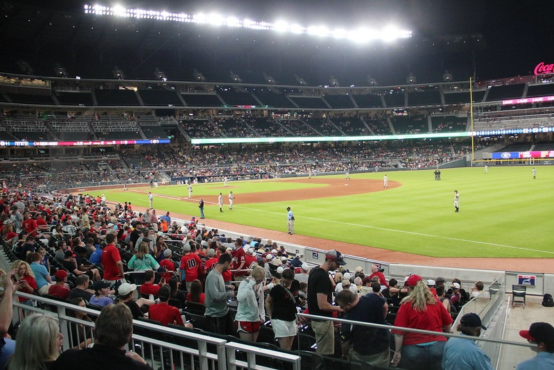 Photo taken from the lower level seats at Truist Park. Home of the Atlanta Braves.