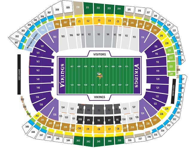 U.S. Bank Stadium Seating Chart, Minnesota Vikings