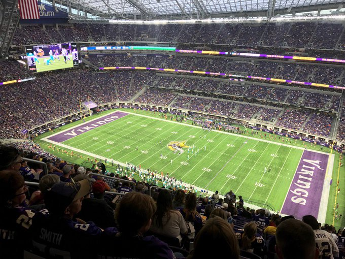 View from the upper level seats at U.S. Bank Stadium during a Minnesota Vikings game.