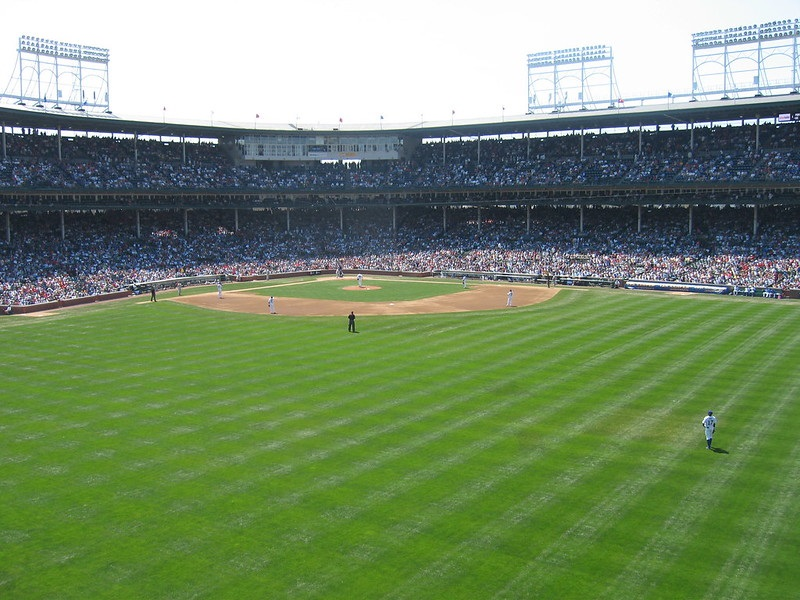 Photo taken from the Budweiser Bleachers at Wrigley Field during a Chicago Cubs home game.