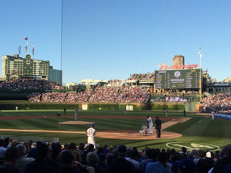 Photo taken from the club seats at Wrigley Field during a Chicago Cubs game.