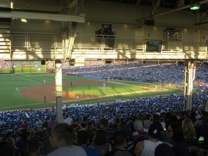 Photo taken from the terrace seats at Wrigley Field during a Chicago Cubs game.