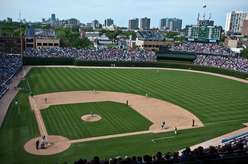 Photo taken from the upper box seats at Wrigley Field taken during a Chicago Cubs home game.