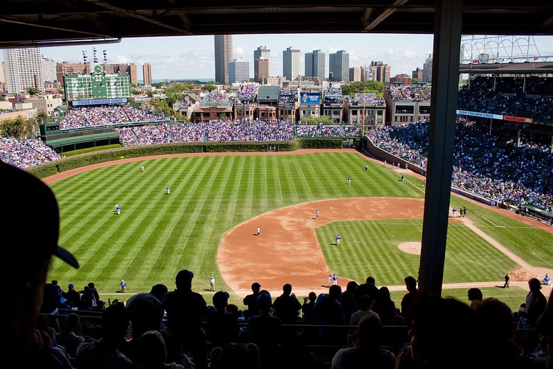 Photo of an obstructed view seat at Wrigley Field taken during a Chicago Cubs home game.