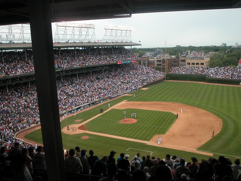 Photo taken from the upper reserved seats at Wrigley Field during a Chicago Cubs home game.