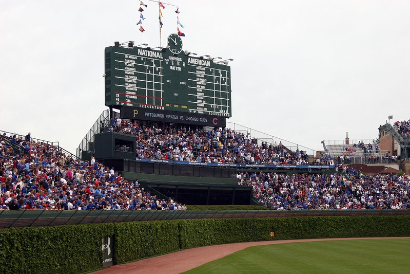 Photo of the Budweiser Bleachers at Wrigley Field. Home of the Chicago Cubs.