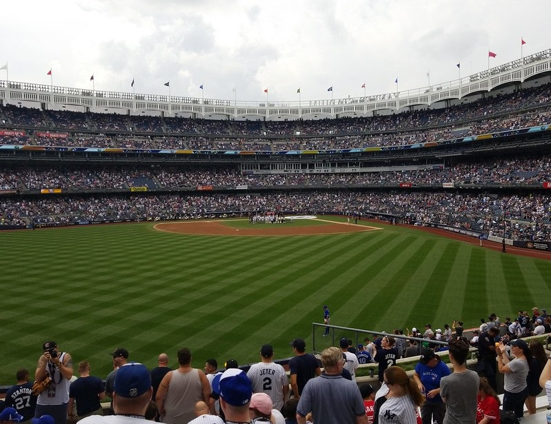 Photo taken from the bleacher seats at Yankee Stadium during a New York Yankees home game.